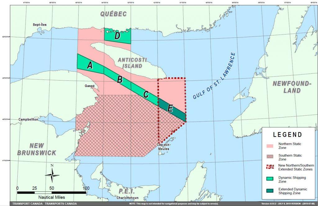 Карта на районите с ограничение на скоростта в залива Св. Лаврентий