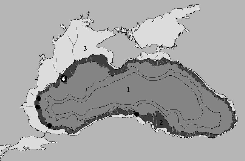 Палеогеографска схема на старите брегове на Черно море